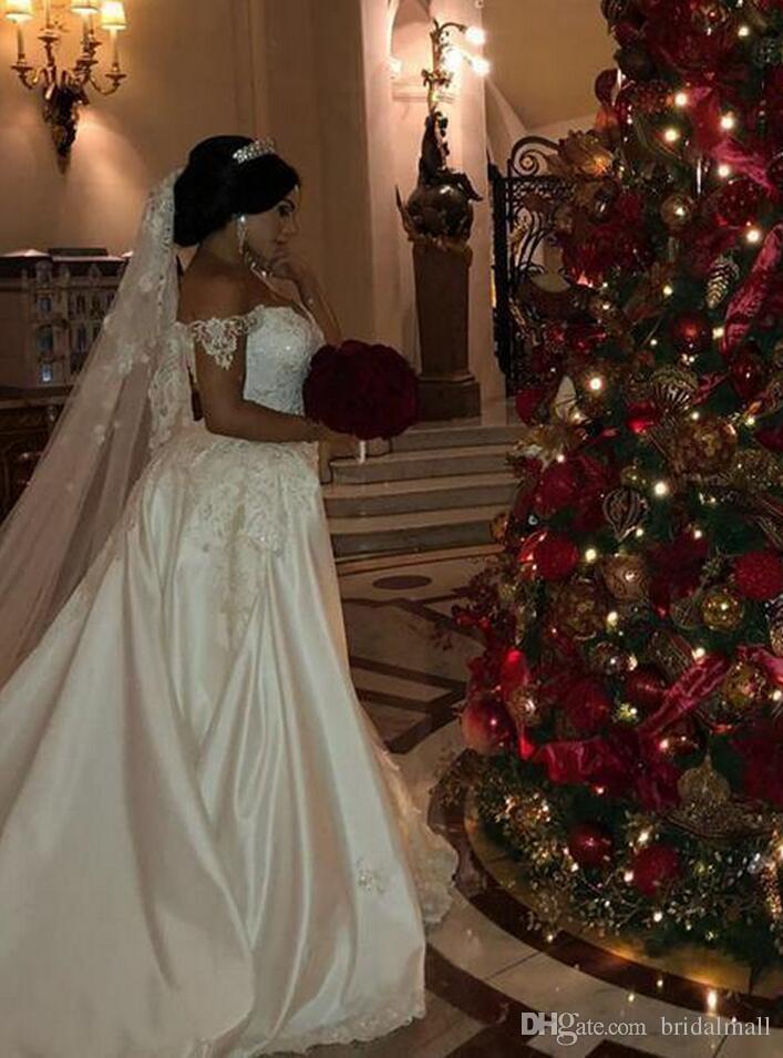 Африканские Overskirts свадебные платья плюс размер кружева аппликации с плеча Русалка свадебное платье бисер блестки плюс размер свадебные платья