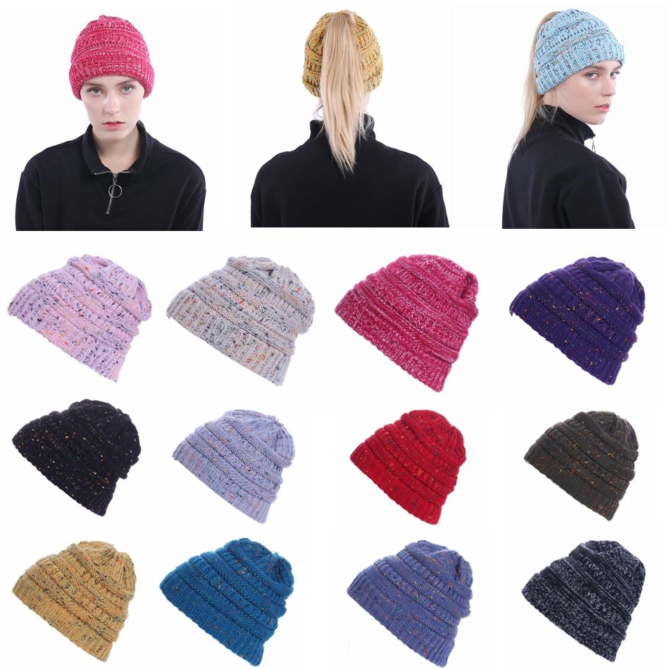 Compre Ponytail Beanie Hat Mujeres Crochet Knit Cap Invierno ...