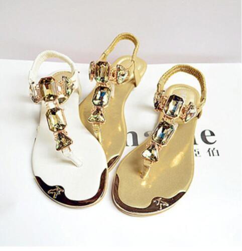 ec5c3400e55a51 Women Sandal 2018 Designer Beach Summer Flip Flops PU Leather Rubber Shoes  Fashion Rhinestone Sandal Zapatos Mujer Sandals For Women Knee High  Gladiator ...
