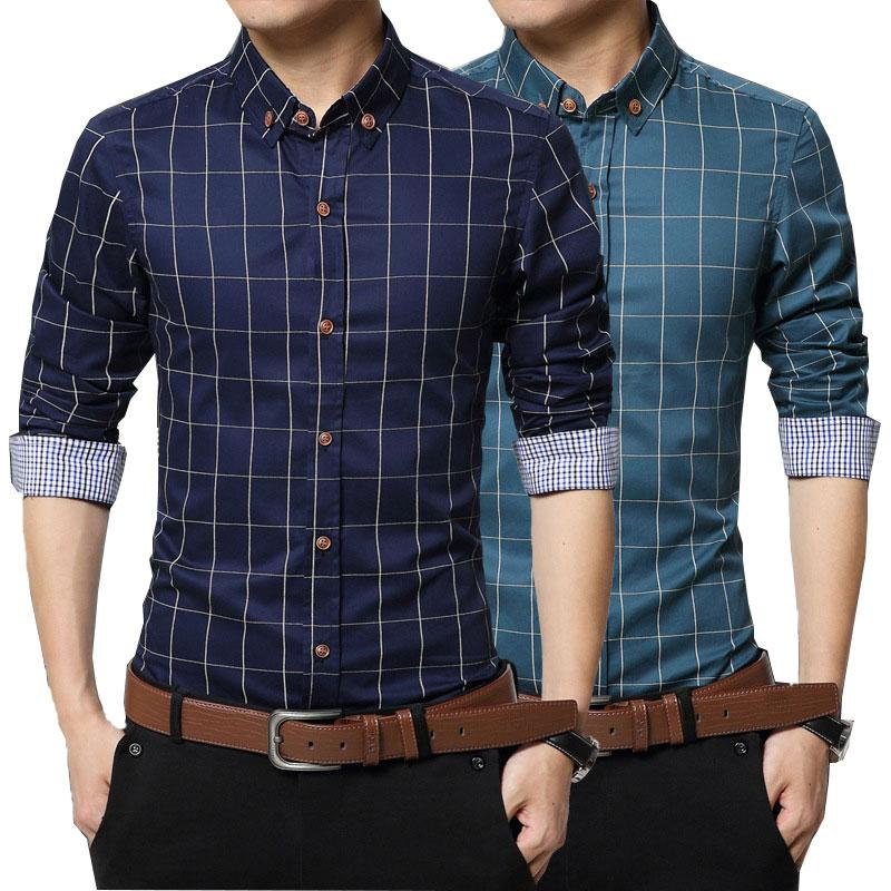d89c709ca778 2018 Spring/Summer Men's Cotton Plaid Long Sleeve Shirt Color White/Light  Blue/Pale Blue/Gray/Khaki/Bursas/Lake Blue/Green