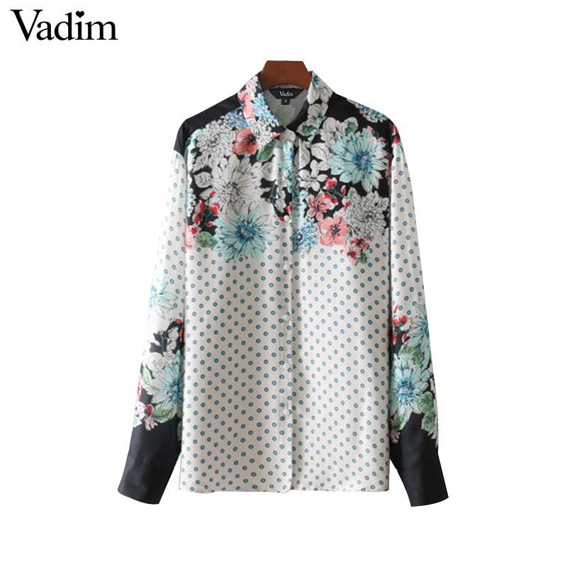 6d03cb214fd 2019 Vadim Vintage Floral Polka Dot Print Loose Shirts Long Sleeve Pleated  Blouses Female Fashion Brand Oversized Tops Blusas LT2736 From Beke