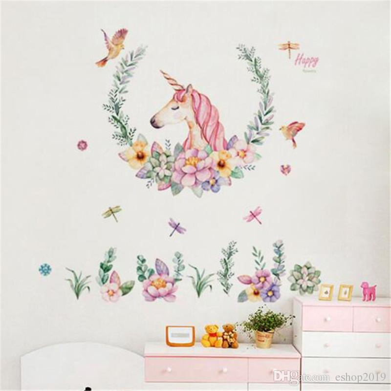 cartoon unicorn wall sticker baby girl room decor kids bedroom self