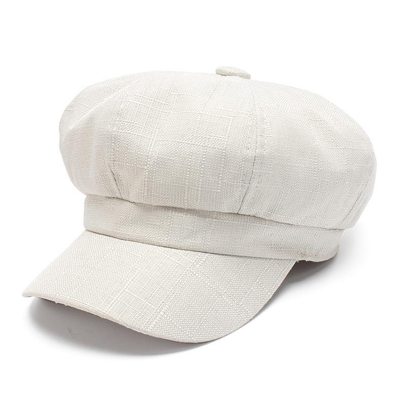 31e9b08e6bb94 2019 Vintage Linen Newsboy Cap Women White French Painter Hat Spring Summer  Beret Female 2018 New Octagonal Cap From Fashionmemories