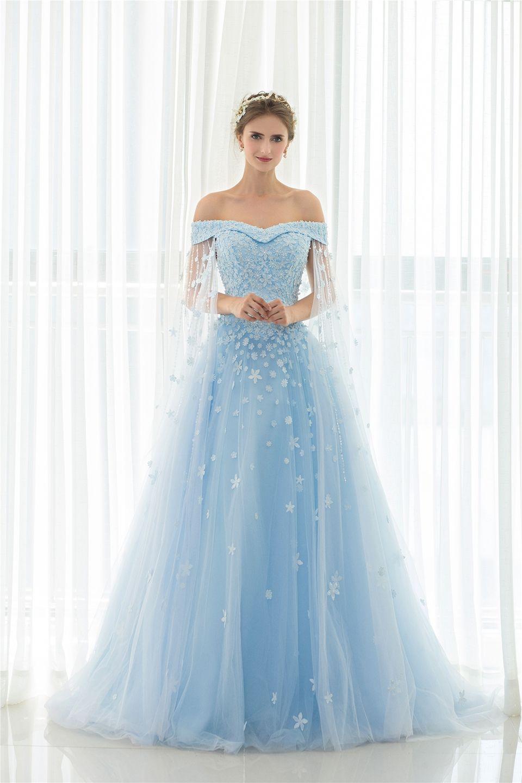 2018 Aqua Blue Wedding Dress Appliques Sequin
