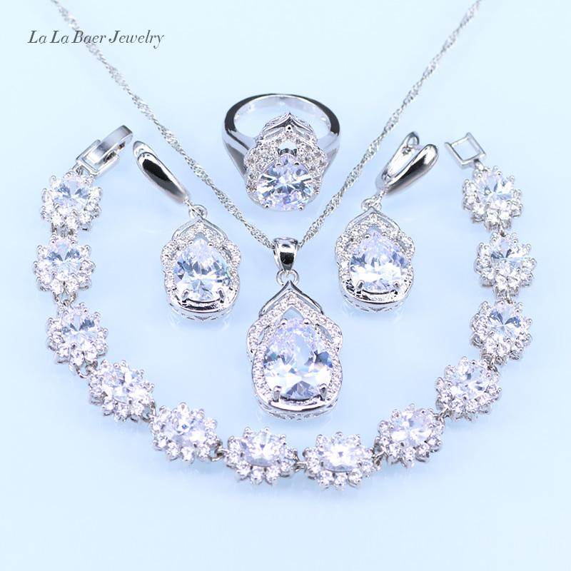 L&B Australia Crystal Water Drop silver 925 Jewelry Sets For Women Bracelet/Earrings/Necklace/Pendant/Rings S18101607