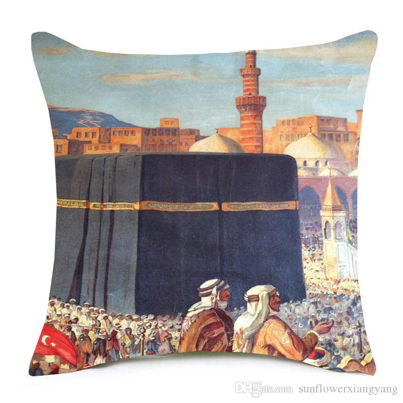Middle East Vintage Painting Cushion Cover Hajj Muslim Pilgrimage to Mecca Cushion Covers Sofa Decorative Linen Cotton Pillow Case