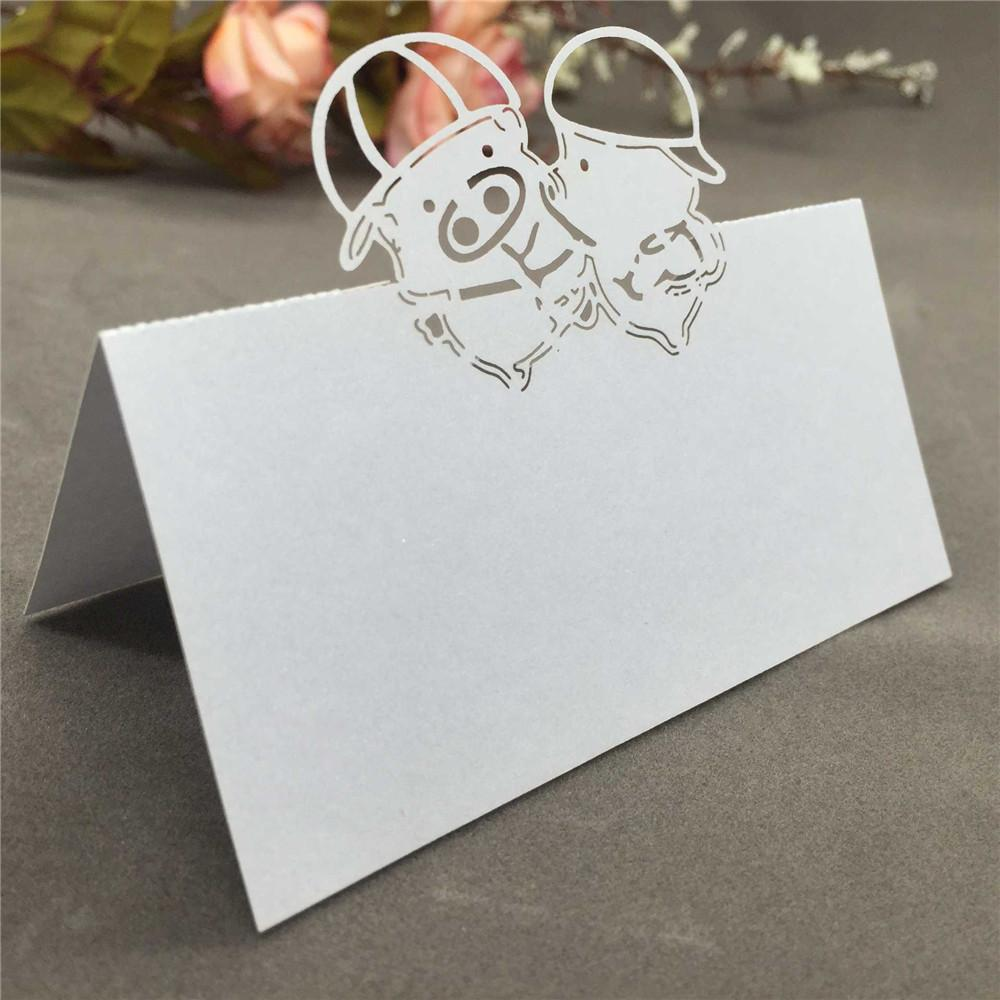 Wedding Name Card Cute Laser Cut Adorable Pig Pattern Place Card