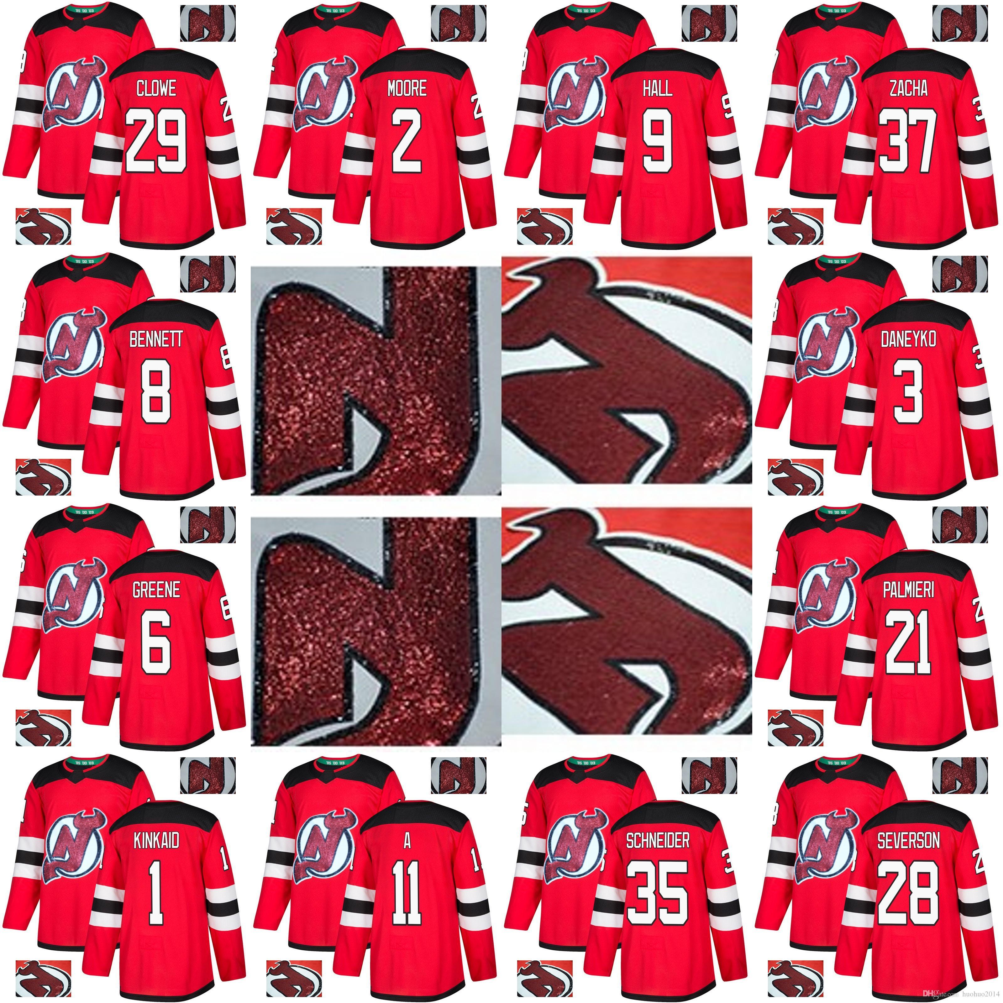 e1dc3a73bf4 2019 New Jersey Devils Gold Embroidery Jerseys Taylor Hall Kyle Palmieri  Keith Kinkaid Cory Schneider Pavel Zacha Cory Schneider Hockey Jerseys From  ...