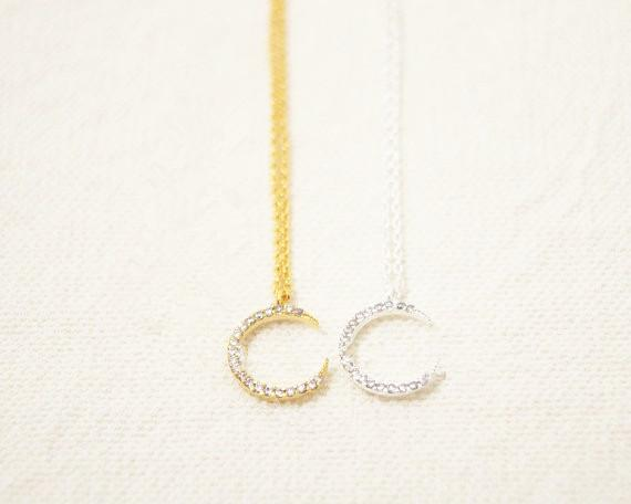 Fashion rhinestone plated necklace pendant necklace Glittering crescent necklaces for women wholesale and mixed color