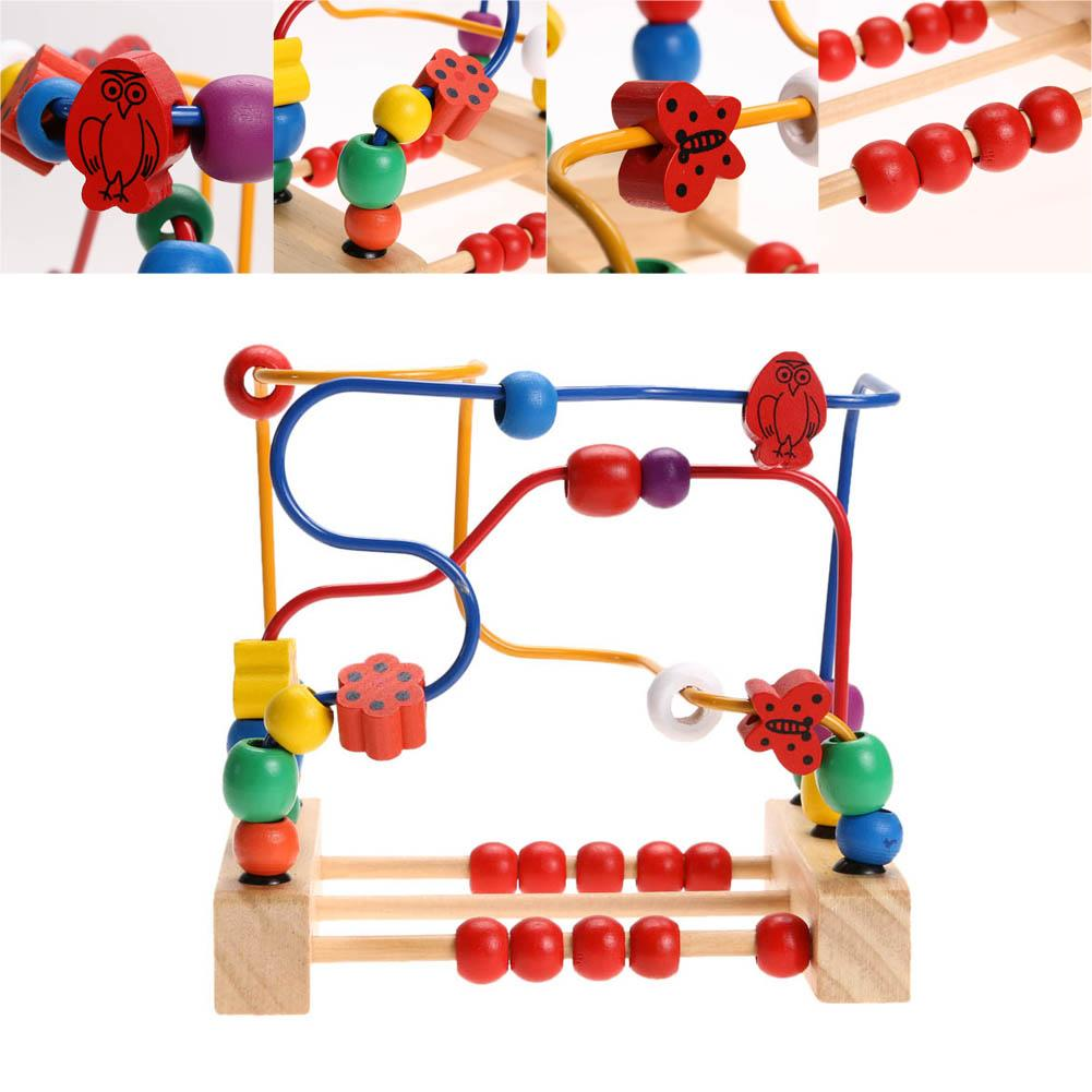 Colorful Wooden Toy Kids Classic Wooden Bricks Bead Maze Child Beads Educational Toy Rollercoaster Maze Puzzle Toys Paradise