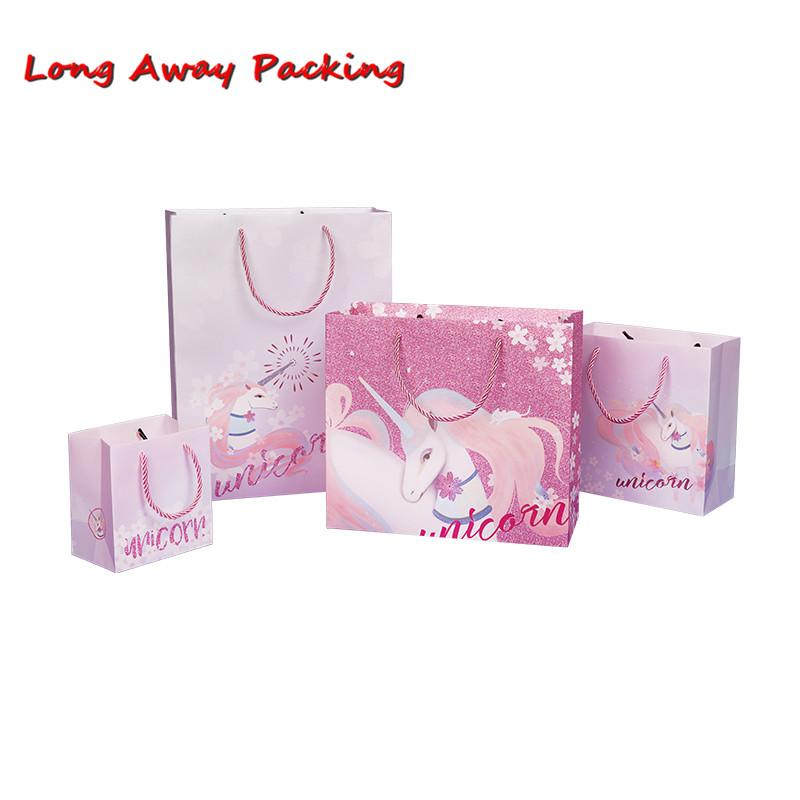 Long Away Packing Sakura Unicorn Party Candy Gift Bag With Handle