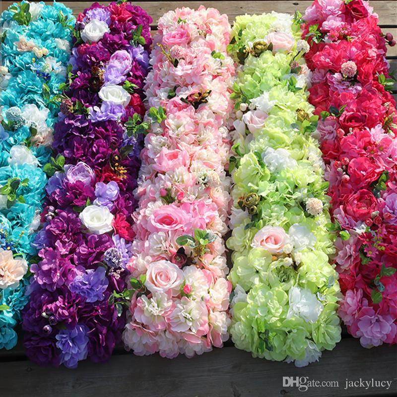 2019 100 X25cm Artifical Rose Hydrangea Styles Flower Rows For