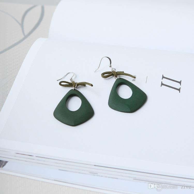 2018 Time-limited Special Offer Dangle & Chandelier Europe Wooden Bow Pierced Openwork Exaggerated Geometric Teardrop Earrings Long Female