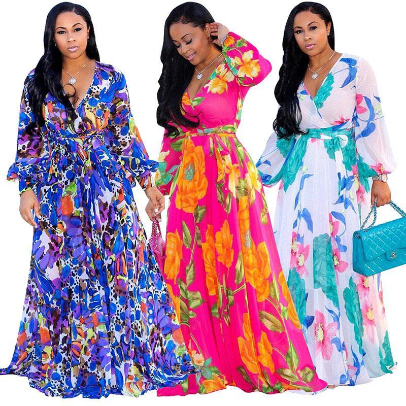 9be8abdbf1 2018 Designer Women Bohemia Dresses Fashion Floral Print BOHO Maxi Beach  Dress Sexy Deep V Long Sleeve Casual Chiffon Party Dress White Dress With  Flowers ...