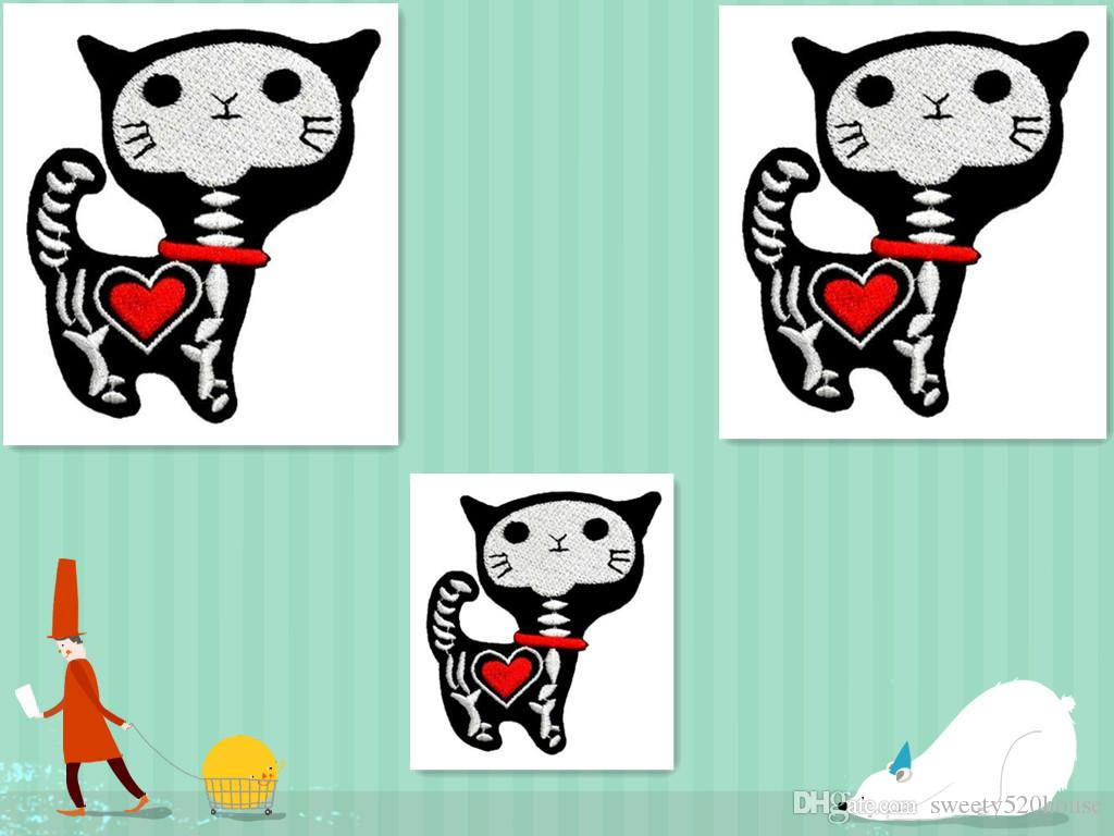Shock Skeleton Skull X-ray Cat Kitty Funny Cartoon DIY Applique Embroidered Sew Iron on Patch