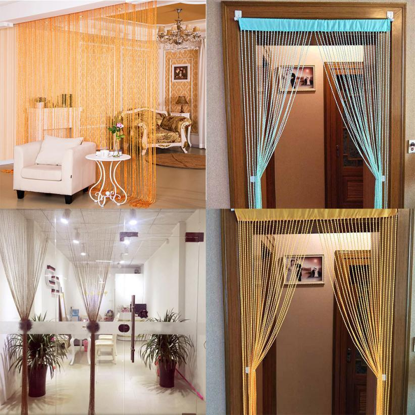 String Curtains Patio Net Fringe For Door Fly Screen Windows Divider Cut To Size Shiny Tassel Flash Silver Line String Curtain