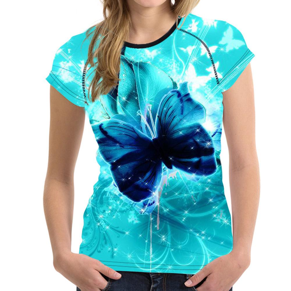 Customized Wholesale Women 3d T Shirt Floral Butterfly Print T Shirt