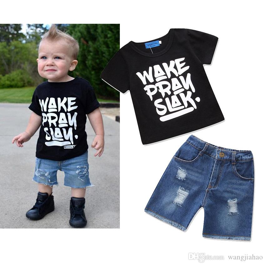 2b76781899a Cheap Baby Clothes Ins Suits Boys Summer T Shirts Pants Letter Print Tops  Trousers Girls Fashion Casual Shirts Pants Long Sleeve Outfits