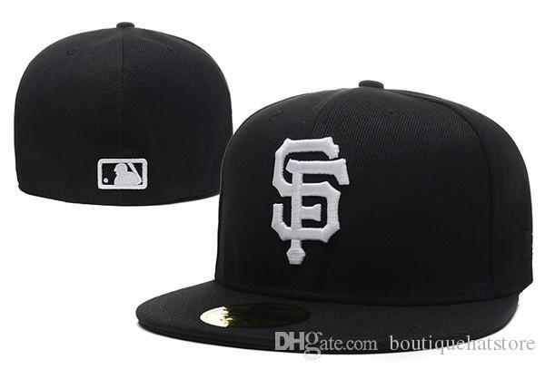 Gros sur le terrain des hommes de géants équipée chapeau plat Brim brodé lettre SF équipe logo fans baseball chapeau géants de qualité supérieure complètement fermé Chapeu