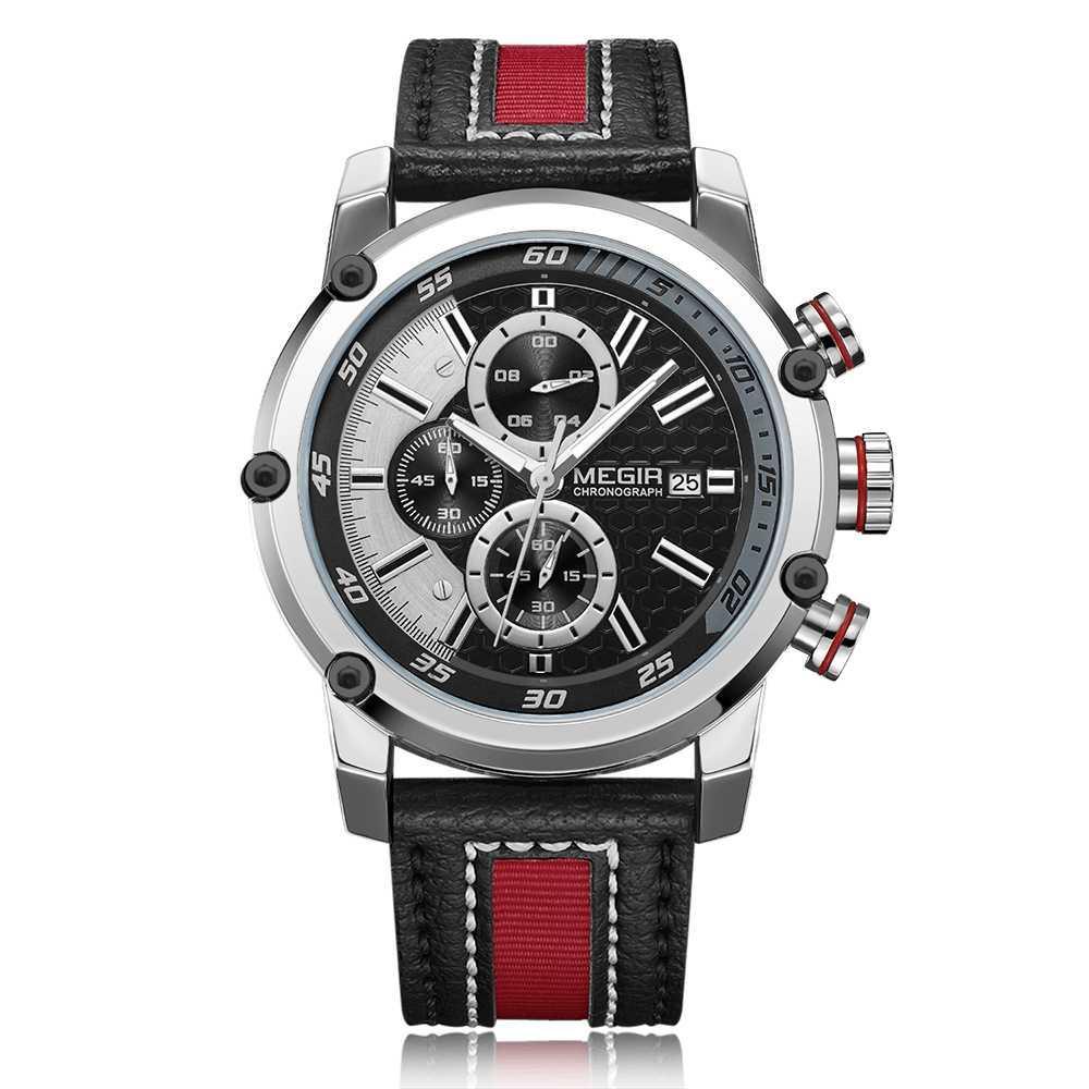 8e9def9f7576 Compre MEGIR 2079 Relojes De Cuarzo Deporte Para Hombre De Primeras Marcas  De Lujo Reloj De Cuero De Los Hombres Reloj De Pulsera Calendario De Moda  Reloj ...