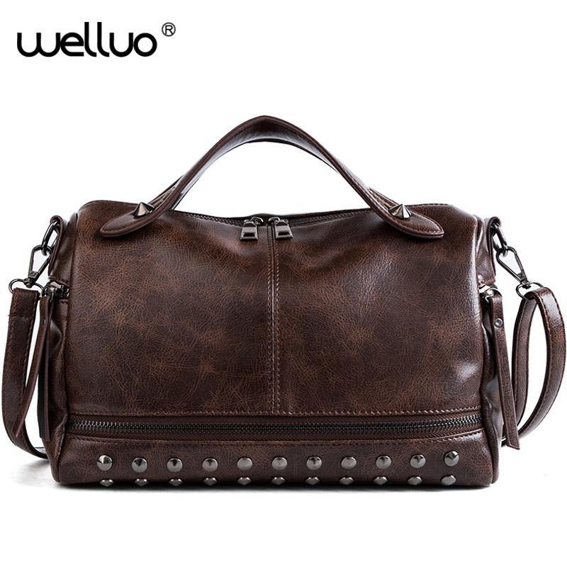 021e3301069c Rivets Large Women Shoulder Bag Vintage Messenger Bag Female Casual Totes  Crossbody Bags Retro Pillow Bolsa Feminina XA527WB Top-Handle Bags Cheap ...