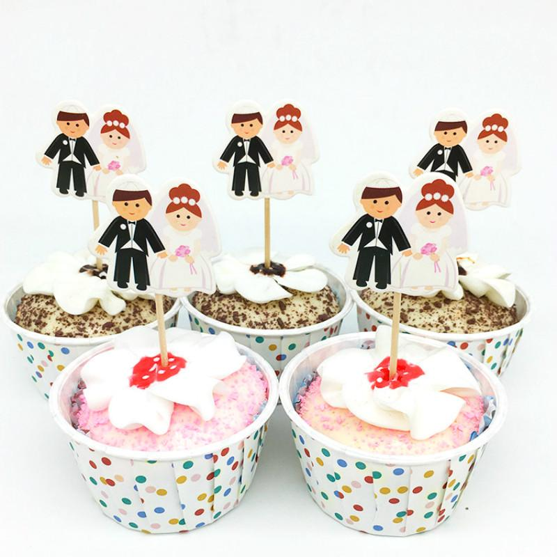 2018 Wedding Cupcake Toppers Groom Bride Cake Toppers Wedding
