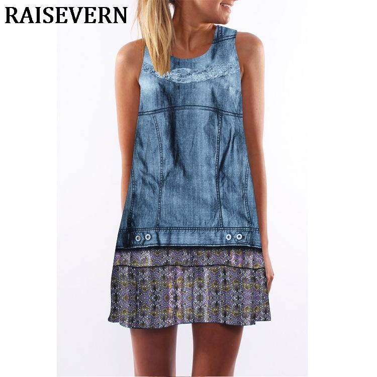 b0673d3c912 Fake Denim 3D Dress Women Tunic Sleeveless A Line Mini Party Dress Robe  Femme Ete Summer Beach Short Tank Top XXL Womens Sun Dresses Cheap Evening  Dress ...