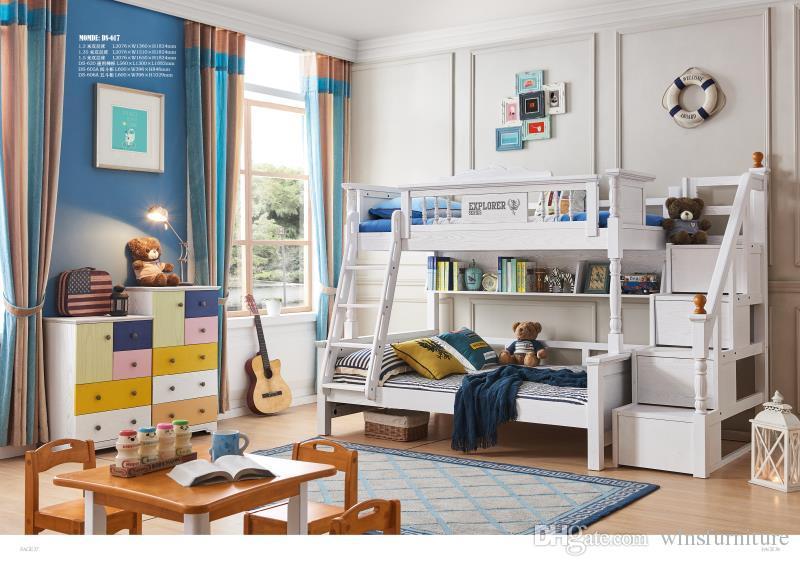 Tutti i bambini in legno massello camera da letto mobili in legno massello  bambini letto con armadio di stoccaggio cassetti a castello letto a ...