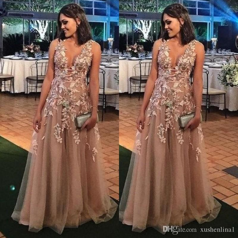 22ae6351b67 Deep V Neck Tulle Prom Dress A Line Lace Appliques Sleeveless Formal  Evening Dresses Glamorous Floor Length Party Gown 2018 Prom Dresses Prom  Dresses Uk ...