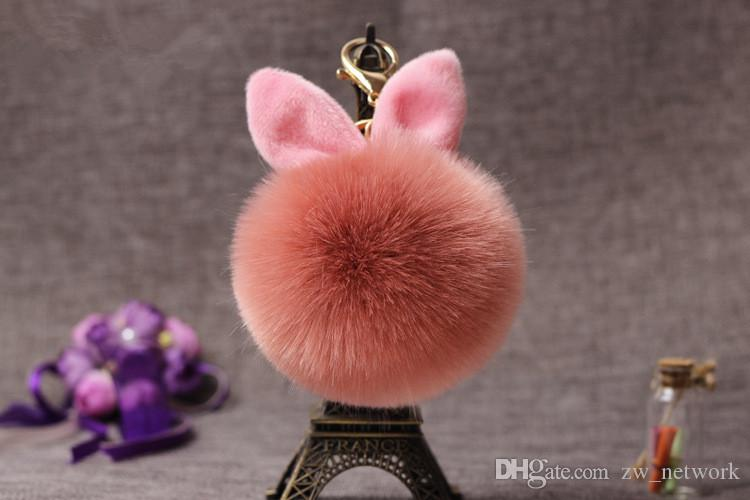 Cute fluffy fur ball keychains rabbit ear ball pendant for purse Phone bunny plush key chain Keyring ornaments hair ball keychain