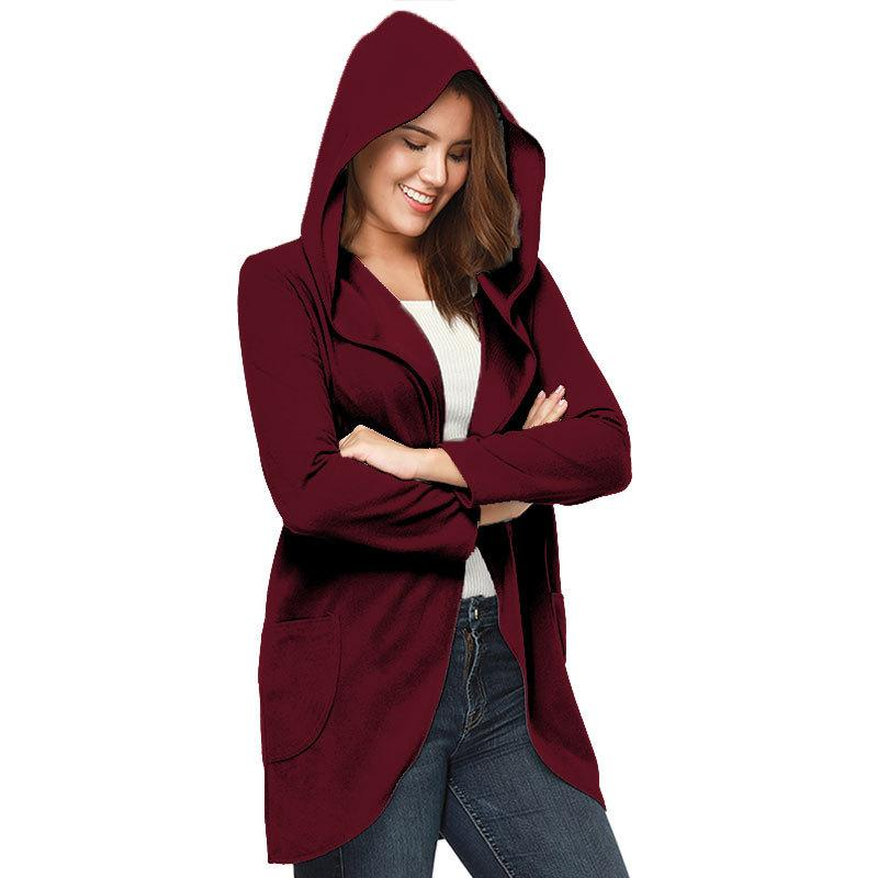d7d53b6489b New Solid Hooded Pocket Cardigan Coat Casual Long Sleeve Open Stitch ...