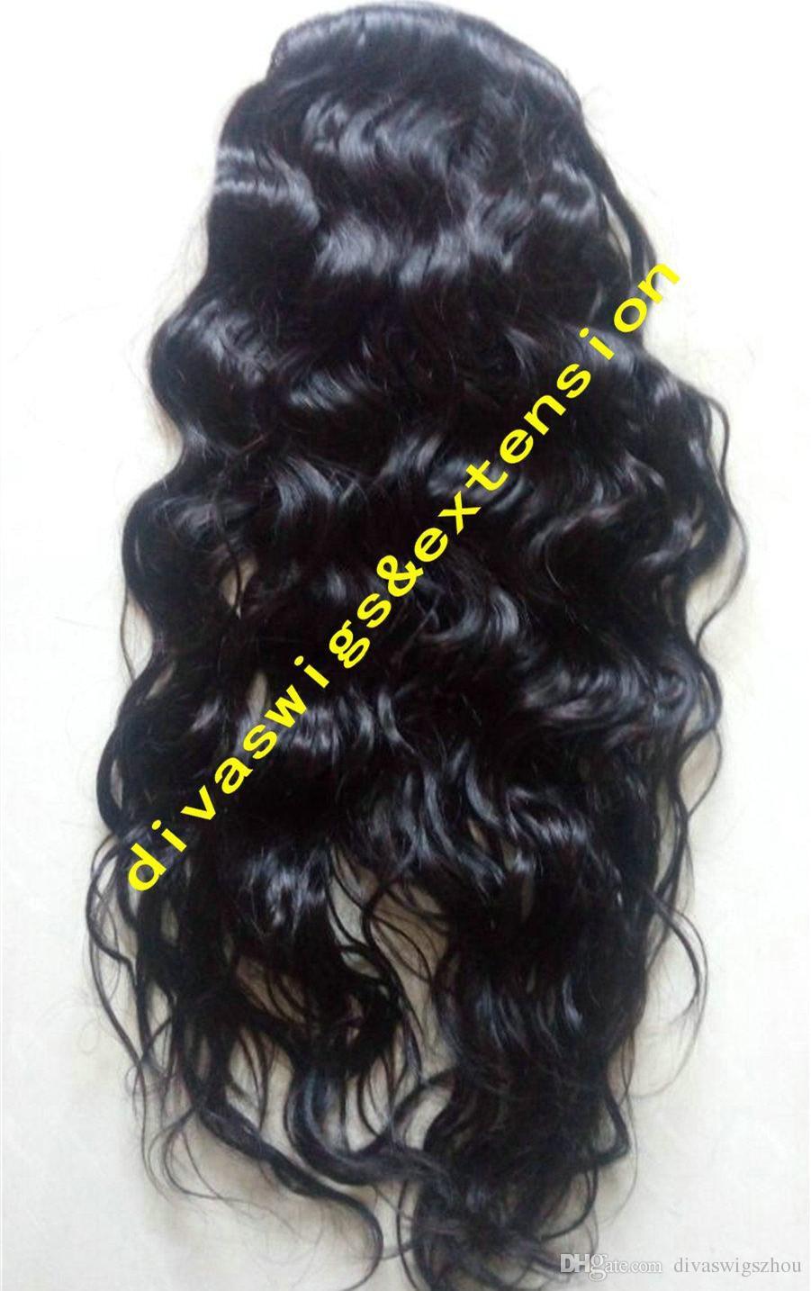 Рианна мокрые и волнистые хвостик шиньон клип в бразильских девственных волос шнурок хвост расширение с черный шнурок 1B 140g 18 дюймов