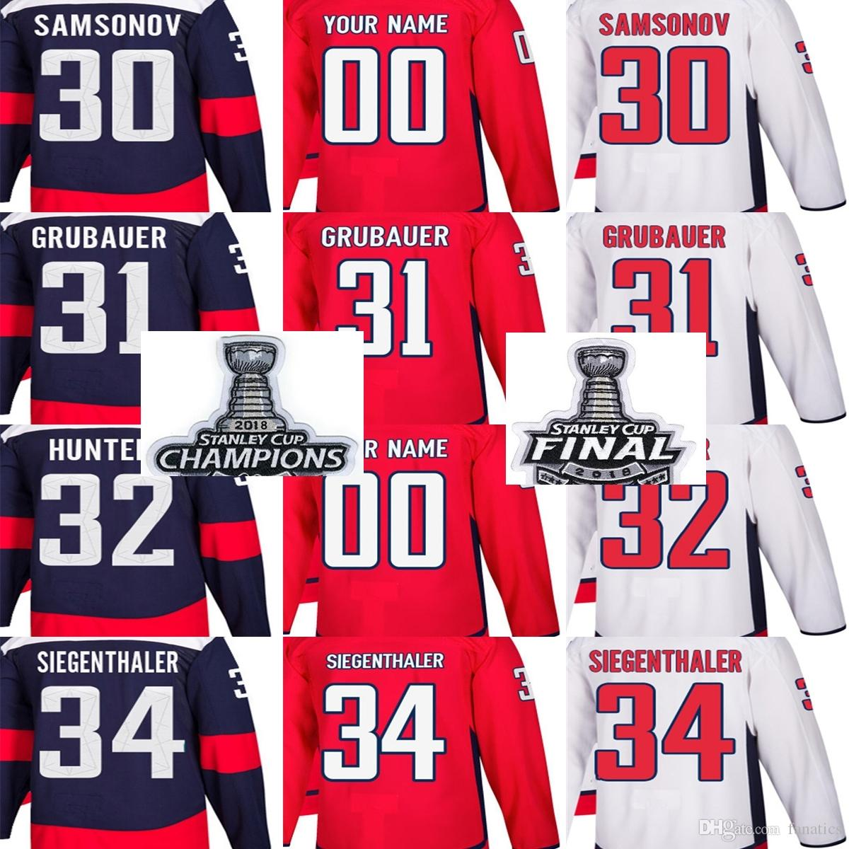 info for 4658f d20ce 2018 Stanley Cup Champions Final Patch Men Washington Capitals Ilya  Samsonov Philipp Grubauer Dale Hunter Siegenthaler Custom Hockey Jerseys