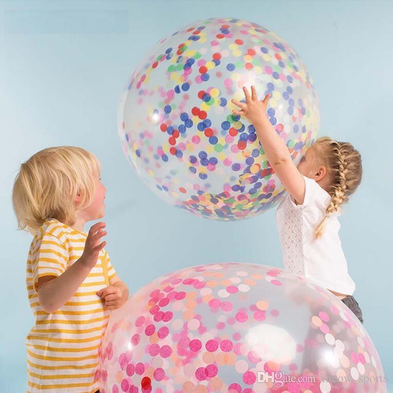 36 pouce Ballons De Confettis Géant Effacer Ballons De Latex De Mariage Décorations De Fête D'anniversaire Fête Bébé Douche Fournir Des Ballons À Air