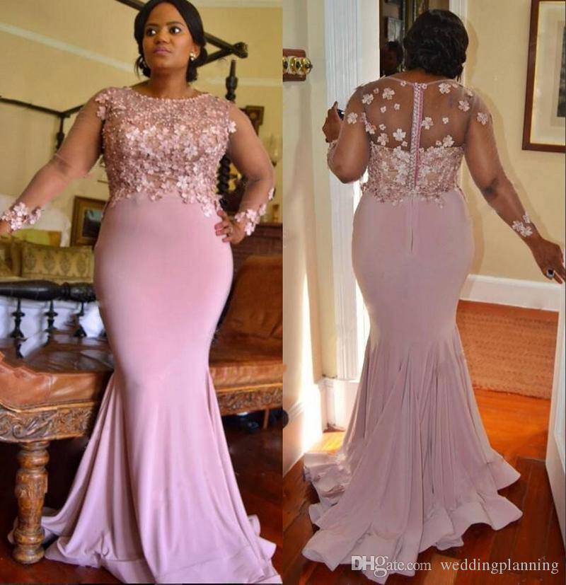 0b48aecf8c6fb Plus Size Mermaid Arabic Prom Dresses Lace Long Sleeves Beaded Applique  Maid Of Honor Dresses Spandex Women Formal Evening Dresses