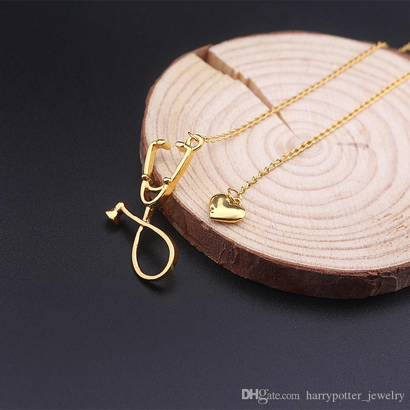 Stetoscopio Lariat collana, cuore e stetoscopio Ciondolo dottore regalo studente di medicina, il dottore infermiera gioielli drop shipping 162506