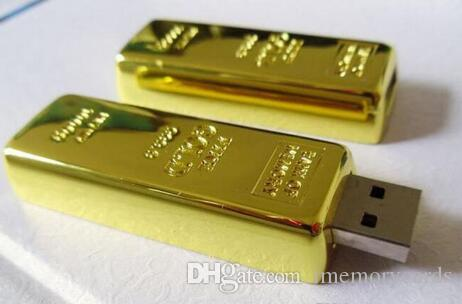 100% Real Capacity Gold bar pen drive 2GB 4GB 8GB 16GB 32GB 64GB USB Flash Drive Memory Stick with OPP Packaging 01