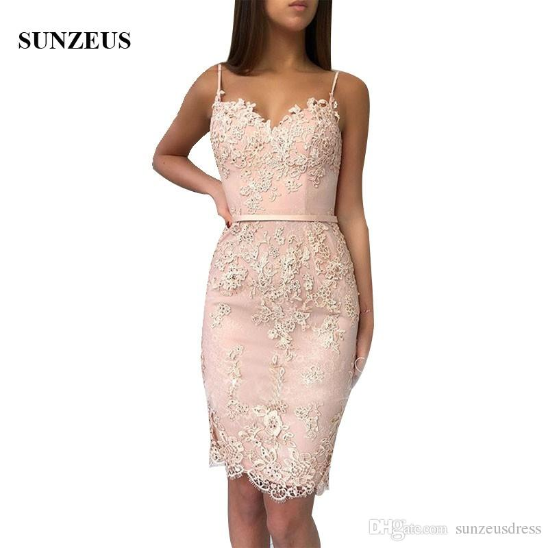 Appliques Lace Cocktail Dresses Short Sheath Spaghetti Straps Sweetheart  Party Gowns Vestido Coctel New Arrival Lace Gowns Navy Blue Cocktail Dress  From ... 69b80e7c9531