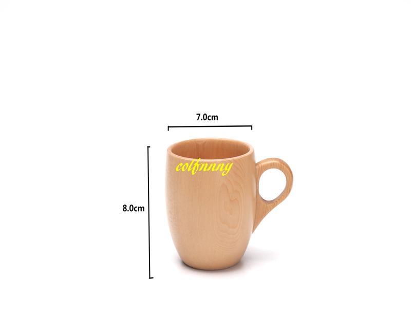 50 adet / grup FIR Ahşap Fincan Ahşap Bardak El Yapımı Doğal Çay Bardağı Kahvaltı Bira Süt Drinkware kolu ile