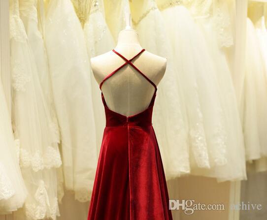 Dark Red Velvet Abendkleider 2018 Günstige Perlen Backless Long Prom Kleider nach Maß formale Party Kleider
