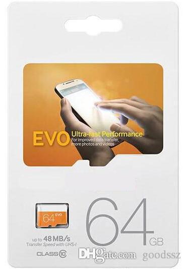 밀봉 된 소매 포장을 가진 Samsung 스마트 폰를위한 EVO 64GB 종류 10 UHS-1 Transflash TF 메모리 카드 64GB