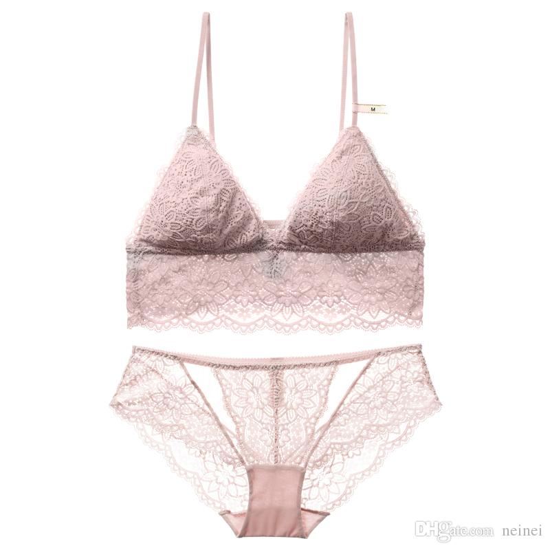c62d9ee47c 2019 French Floral Lace Bralette Sexy Transparent Panties Thin Cup With Pad  Intimates Women Comfortable Sleepwear Small Underwear Set From Neinei