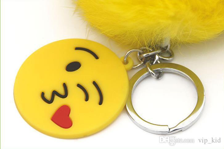 12 stile Unicorn emoji Pom portachiavi ciondolo carino Pompon pelliccia di coniglio artificiale portachiavi borsa a catena chiave anello sacchetto di appendere