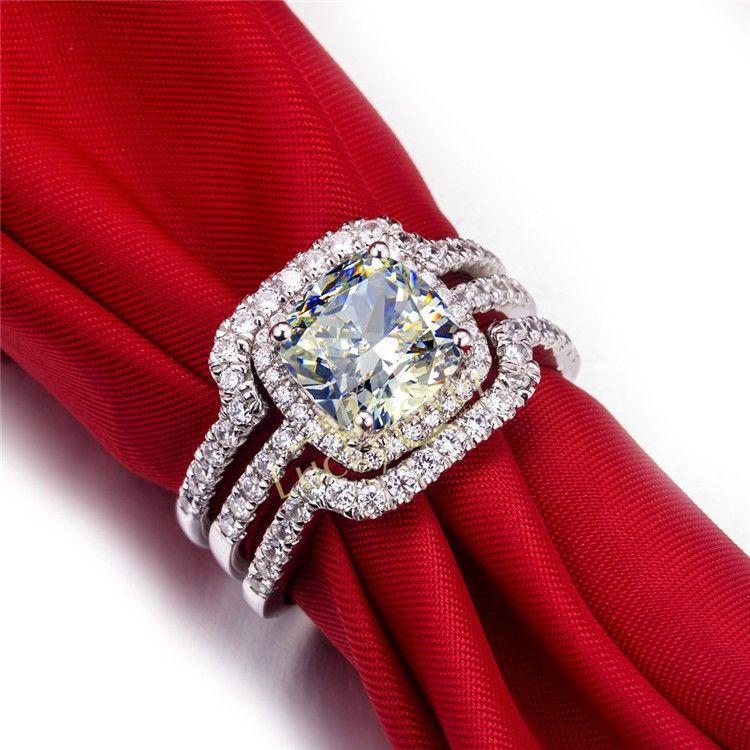 Splendid Rings Set 925 Sterling Silver Jewelry White Gold Colore 3CT Cushion Cut diamanti sintetici Wedding Bands Rings Set