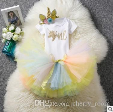 05c6ab1fe7ee 2019 INS Baby Girls Outfits Summer Children Unicorn Romper Clothes Sets Cartoon  Bodysuit + Tulle Skirts + Unicorn Headband Kids Suits C3696 From  Cherry_room ...