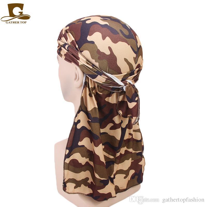 Großhandel Mode Camouflage Print Herren Durags Turban Bandanas Nähen ...