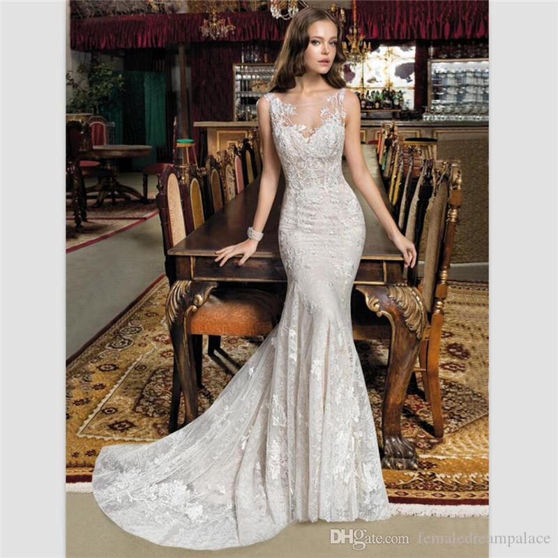 f17cb6c8ff03 Vestido De Noiva Mermaid Bride Dress Vintage Champagne Lace Wedding Gowns  2018 Elegant Custom Wedding Dresses Sweep Train Bridal Gowns 2015 Dresses  ...