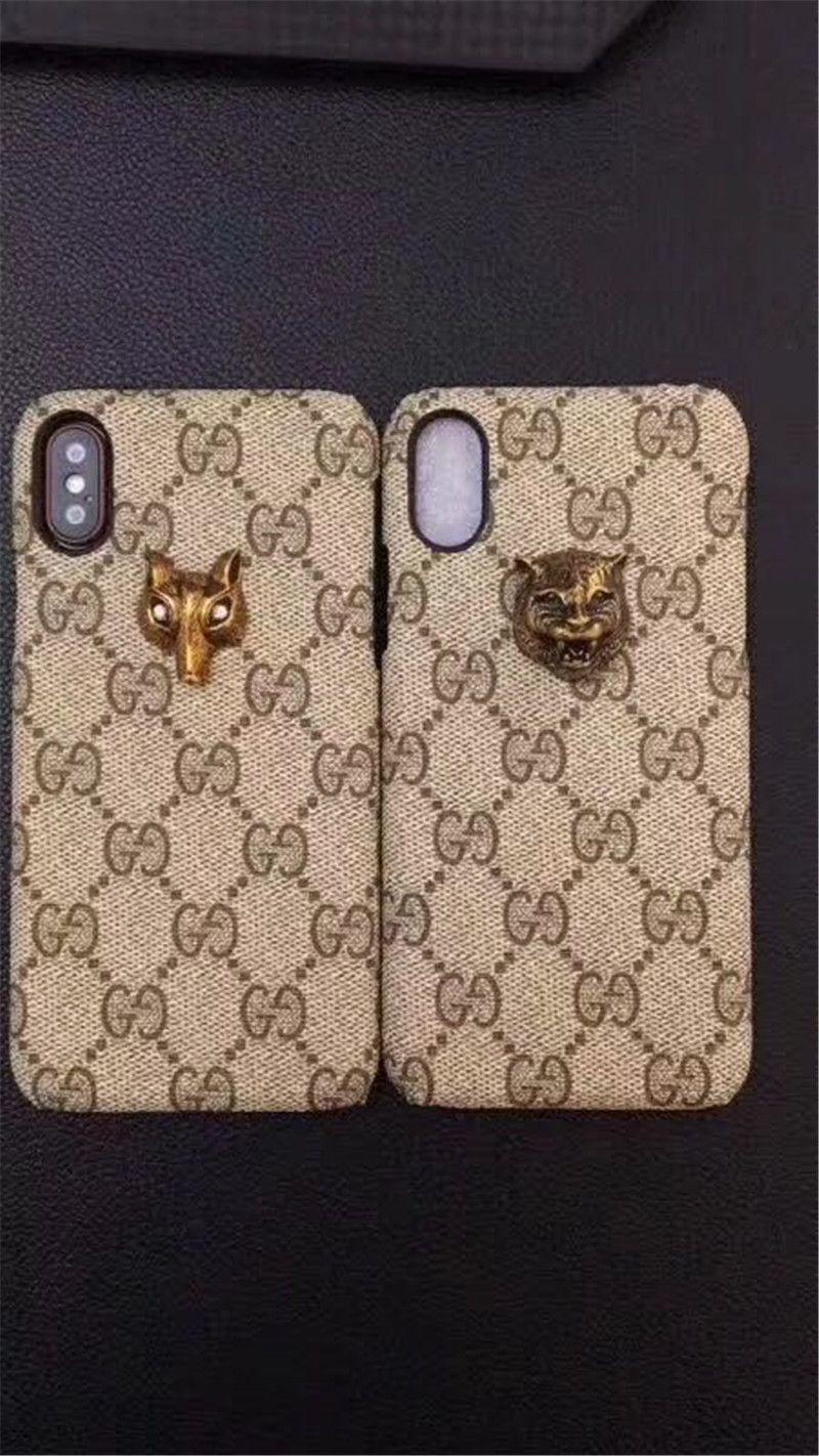 Famosa marca de lujo Caso Tiger Snake bee Animal bordado de la flor acolchar a cuadros Argyle diseño casos para iPhone x 8 6 7 6S Plus 2018