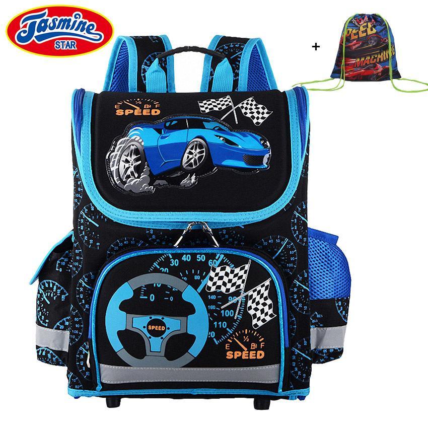 1e065c081042 JASMINESTAR Children Schoolbag Grade 1 3 5 Primary Boy Race Car Backpack  Student Orthopedic Cartoon School Bags Y18100705 Kids Backpacks For School  ...