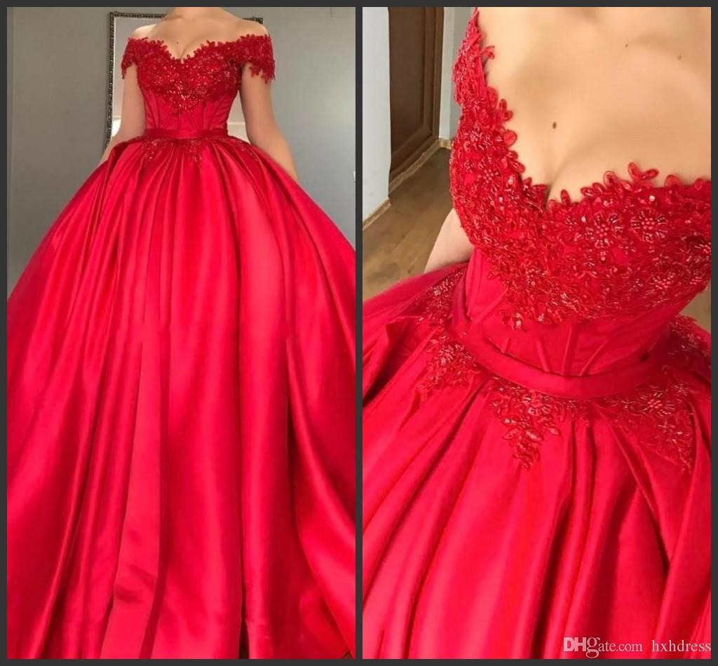 2018 New Modest Off Shoulder Red Ball Gown Quinceanera Dresses Appliques  Beaded Satin Corset Lace Up Prom Dresses Sweet Sixteen Dresses 436  Quinceanera ... 4f572ebc3e89